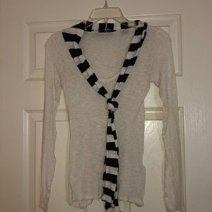 Long sleeve shirt with built in scarf